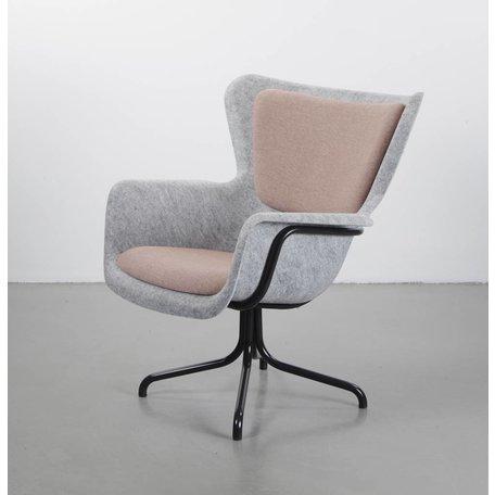 Pet fauteuil met met opdek licht roze bekleding