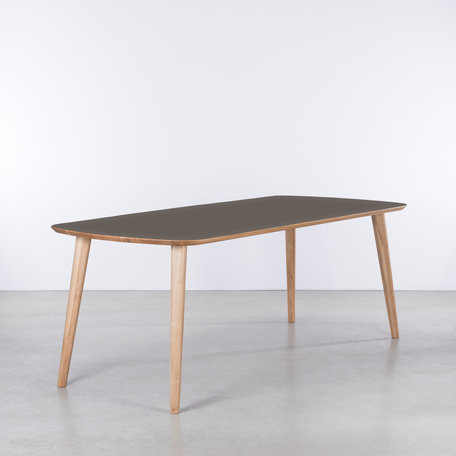 Tomrer Table gray Fenix leaf - Oak legs