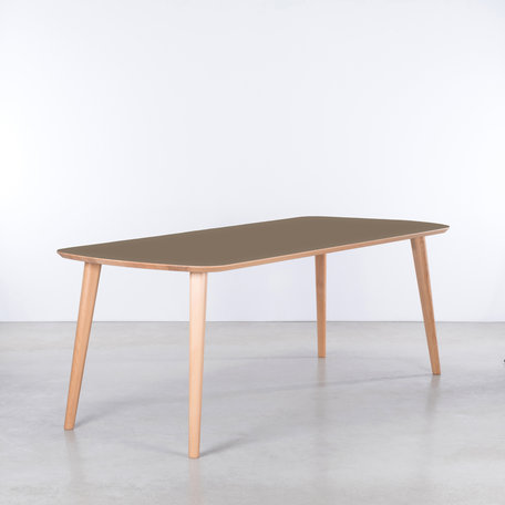 Tomrer Table Clay gray Fenix top -  Beech legs