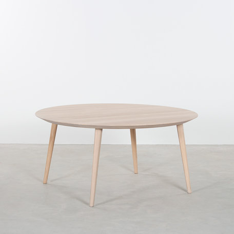 Tomrer Coffee table round Oak Whitewash - 4 legs