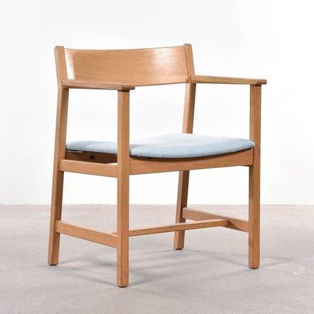 Mogensen 3248 stoel - Eikenhout en lichtblauwe stof