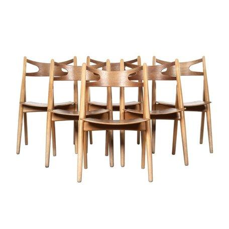 Hans Wegner sawbuck stoelen (set van 6) eik Carl Hansen