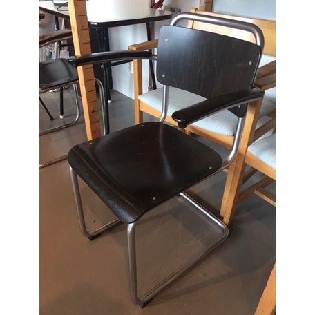 Gispen 201 stoelen (set van 4) matchroom en zwart gebeitst hout