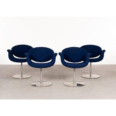 Pierre Paulin little tulip stoelen (set van 4) blauw Artifort