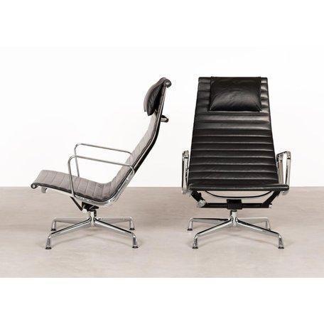 Eames EA124 fauteuil zwart leer Vitra