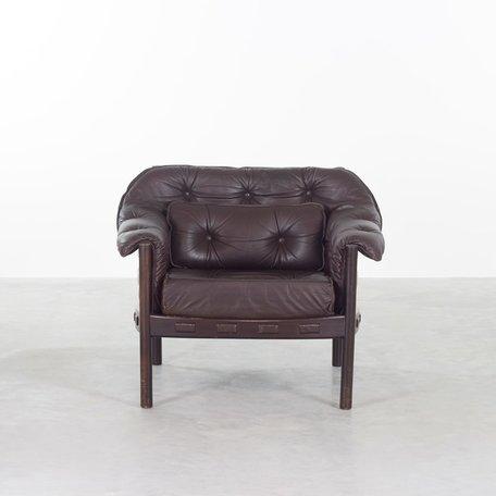 Sven Ellekaer fauteuil bruin leer en hout Coja