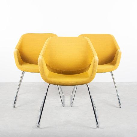 Khodi Feiz Gap stoelen (set van 3) Artifort geel steelcut