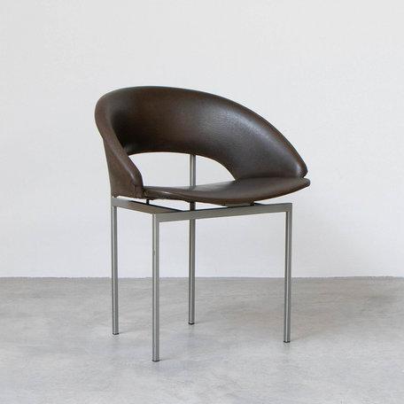 Rudolf Wolf stoelen (set v 4) Meander serie bruin skai