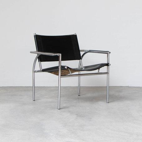 Gerard Vollenbrock fauteuil zwart tuigleer Leolux