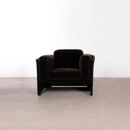 Mario Bellini 405 fauteuil zwart stoef Cassina jaren 70