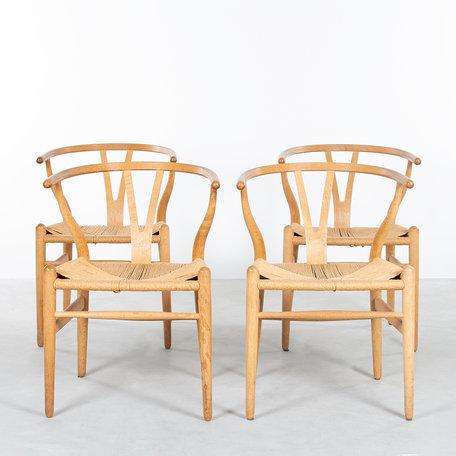 Hans Wegner wishbone stoelen (set van 4) eik Carl Hansen