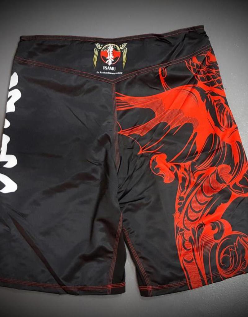 ISAMU 勇ISAMU KYOKUSHIN KARATE FIGHT SHORTS- RYUU BL/RED
