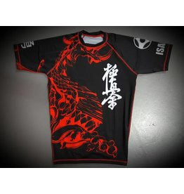 ISAMUFIGHTGEAR 勇ISAMU KYOKUSHIN KARATE FIGHT RASHGUARD-RYUU BLACK/RED | OP=OP