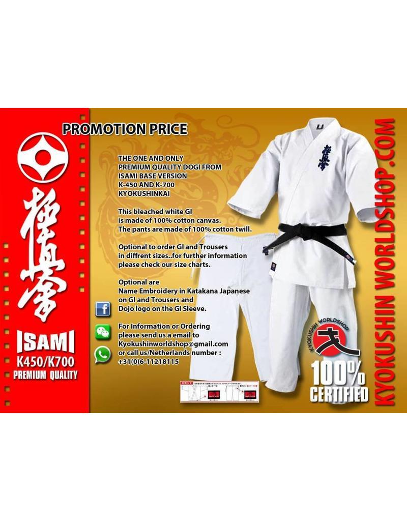 ISAMI ISAMI K450-K700 SUPERIOR KYOKUSHINKAI KARATE GI