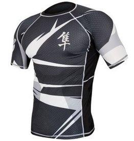 HAYABUSA Rash guard Metaru Short sleeve - Black/white - Size L