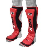 RDX SPORTS MMA Cow Hide Leather Shin Guards - Red