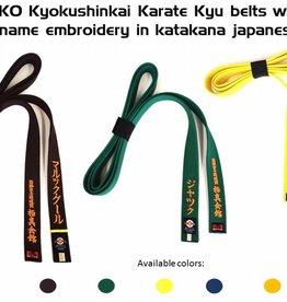 ISAMI PREMIUM KYOKUSHIN KYU BELT WITH FULL NAME EMBROIDERY
