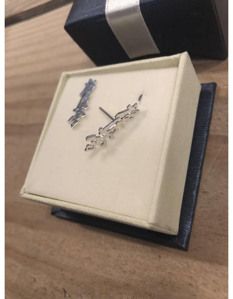 Kyokushin Kanji Earstuds 925 Sterling Silver