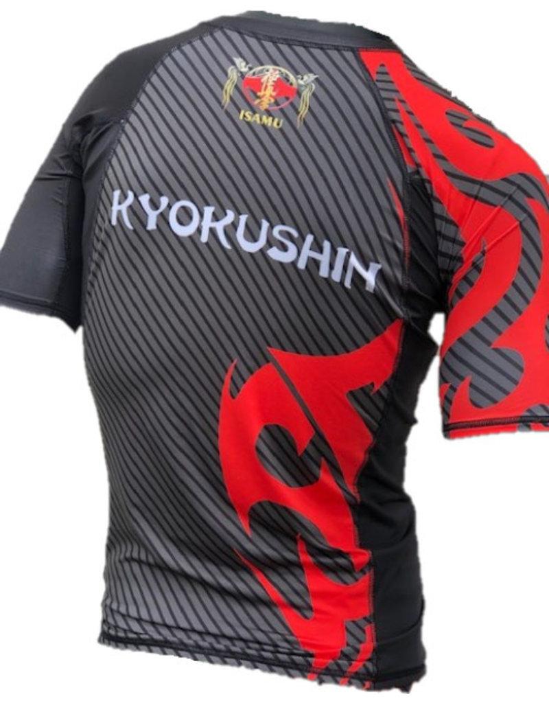 """ISAMU 勇ISAMU KYOKUSHIN """"ATTACK"""" FIGHT RASHGUARD - Short Sleeve"""