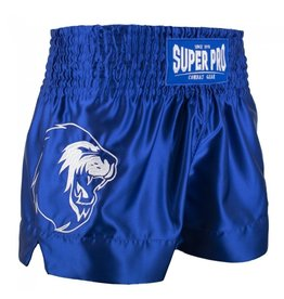 Super Pro Super Pro Combat Gear Thai and Kickboxing Shorts Hero Blue/White