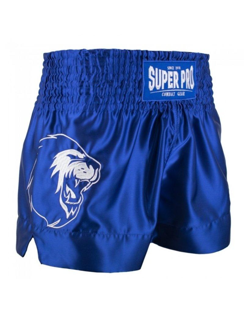 Super Pro Super Pro Combat Gear Thai and Kickboxing Shorts Hero Blue/White
