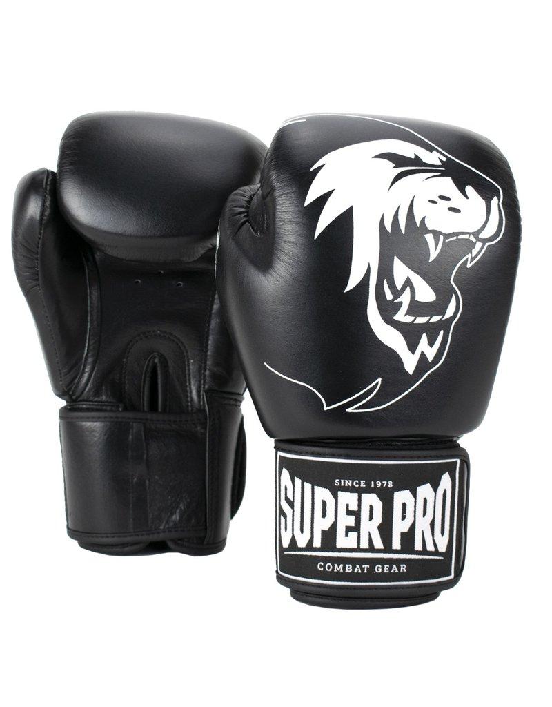 Super Pro Super Pro Combat Gear Warrior Lederen (kick)bokshandschoenen Zwart/Wit