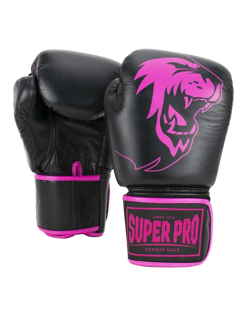 Super Pro Super Pro Combat Gear Warrior Leather (kick)boxing gloves Black/Pink