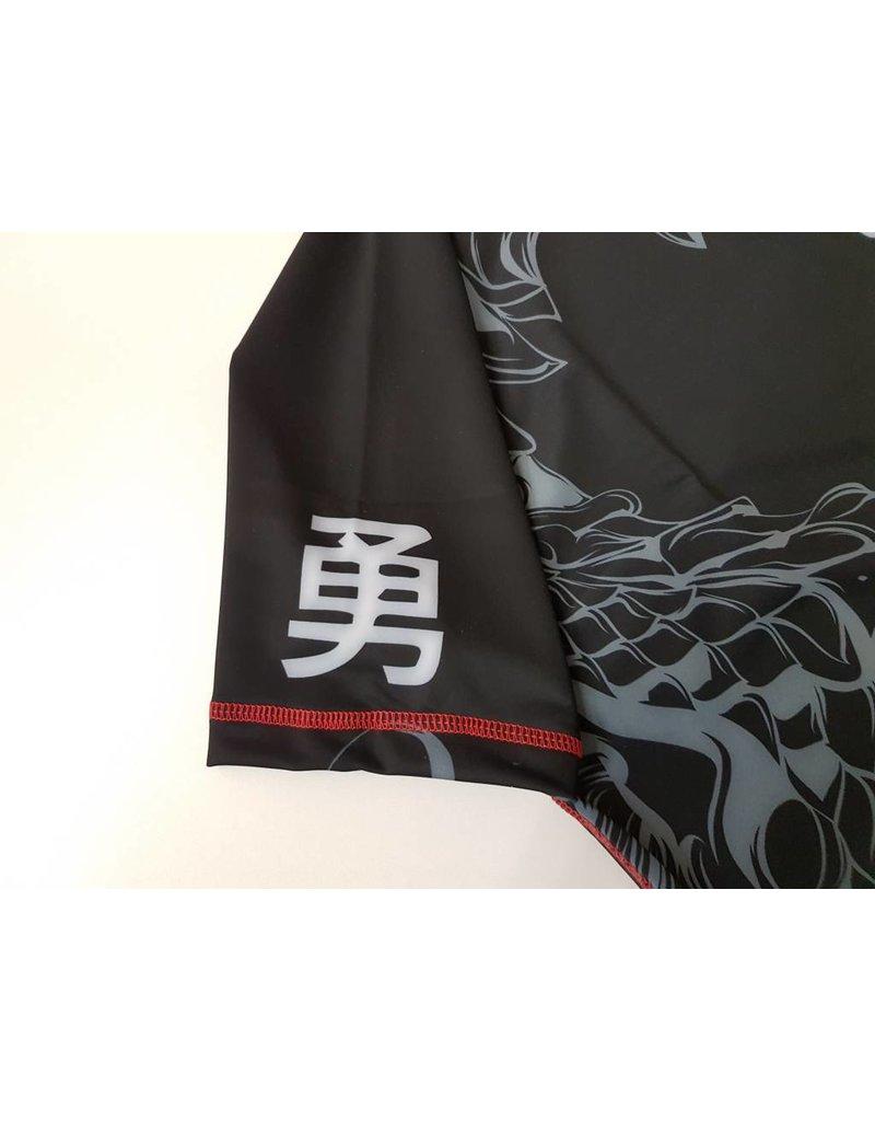 ISAMU 勇ISAMU KYOKUSHIN KARATE FIGHT RASHGUARD-RYUU Zwart/grijs