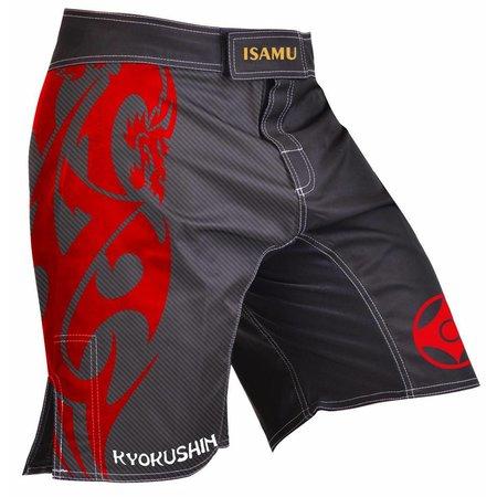 ISAMU ISAMU KYOKUSHIN KARATE FIGHT SHORTS-ATTACK BLACK/RED
