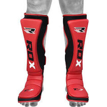 RDX Cow Hide Leather Shin Guards - Red