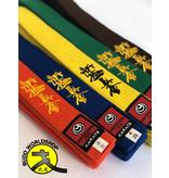 ISAMU ISAMU Gekleurde Shin Kyokushin Kyu Band Met Shinkyokushin Kanji