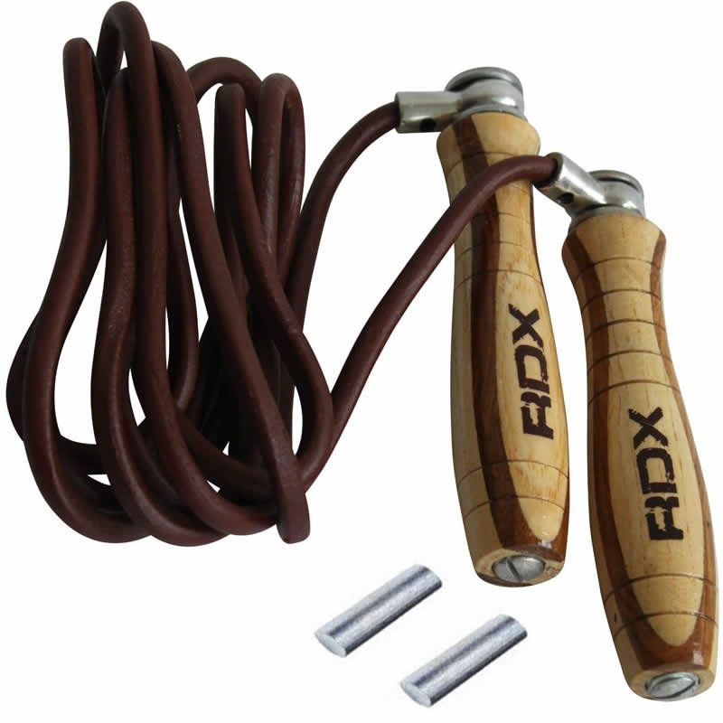Leather and wooden skipping ropes skipping rope in tough leather and hardwood