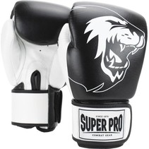 Super Pro Combat Gear Undisputed Punching Bag Gloves Leather Black / White
