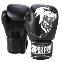 Super Pro Combat Gear Warrior Leather (kick)boxing gloves Black/White