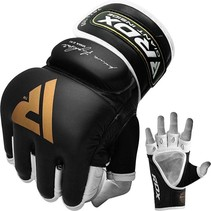RDX Sports T2 Leather MMA Gloves - Gold / Black
