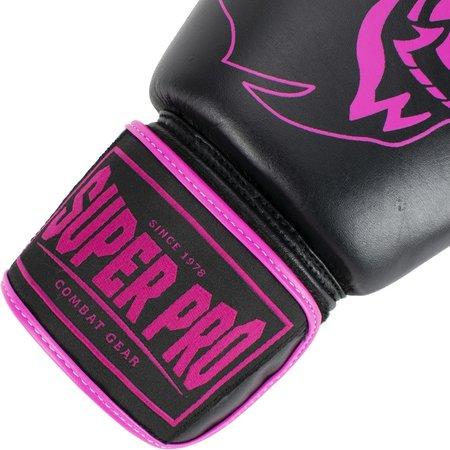 Super Pro Super Pro Combat Gear Warrior Lederen (kick)bokshandschoenen Zwart/Roze