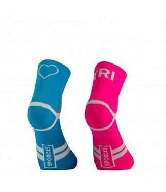Sporcks Calcetines de triatlón azul rosa Sporcks Tri Love