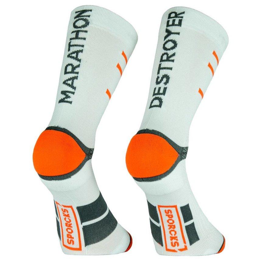 Chaussettes de course blanches Sporcks Marathon Destroyer