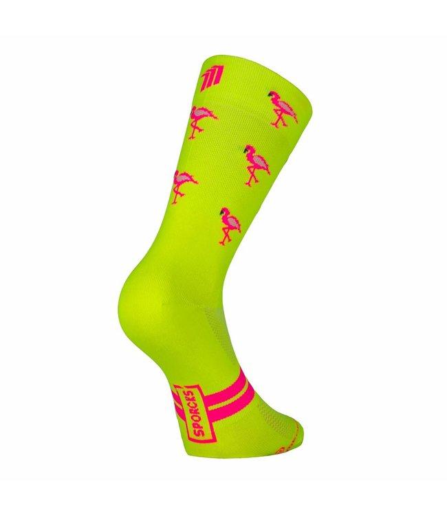 Sporcks Calcetines de ciclismo ultraligeros amarillos Flamingo de Sporcks