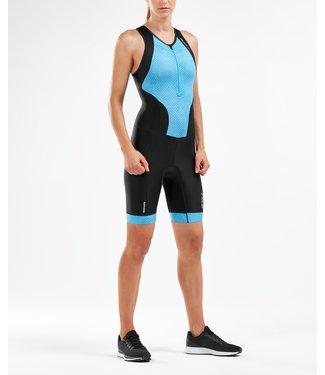 2XU 2XU Esegui le donne Trisuit con zip anteriore nere / blu