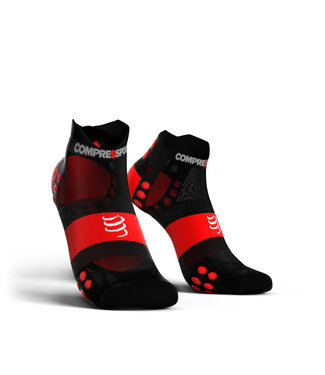 Compressport Compresspor Hardloopsokken PRORACING Low Ultralight V3.0 Zwart-Rood
