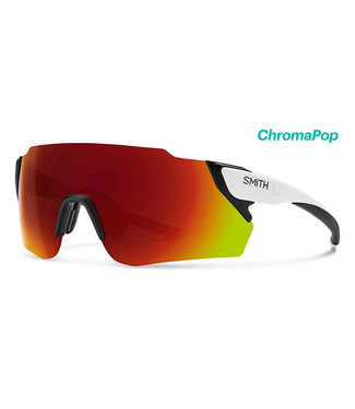 SMITH Gafas de ciclismo Smith Attack Max en blanco mate con lentes de color rojo cromo