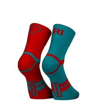 Sporcks Calcetines de triatlón azul Sporcks Tri Love Six Seconds rojo