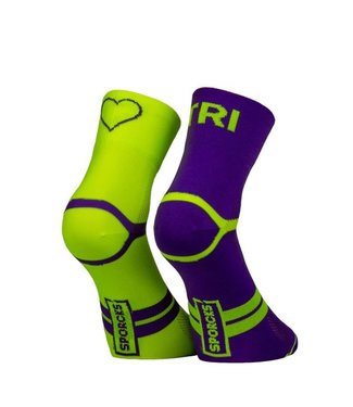 Sporcks Sporcks Tri Love Six Seconds Yellow Purple Triatlón calcetines