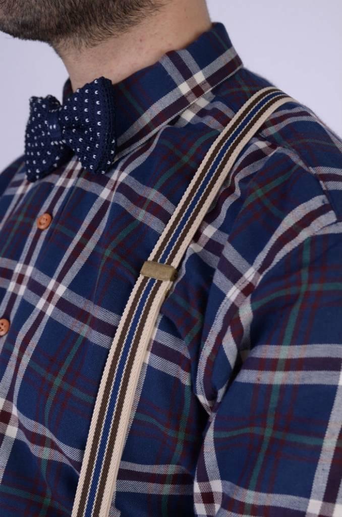 English Fashion bretellen Blauw met Creme gestreept