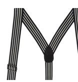 English Fashion Zwarte bretellen met pinstripe en 6-clips