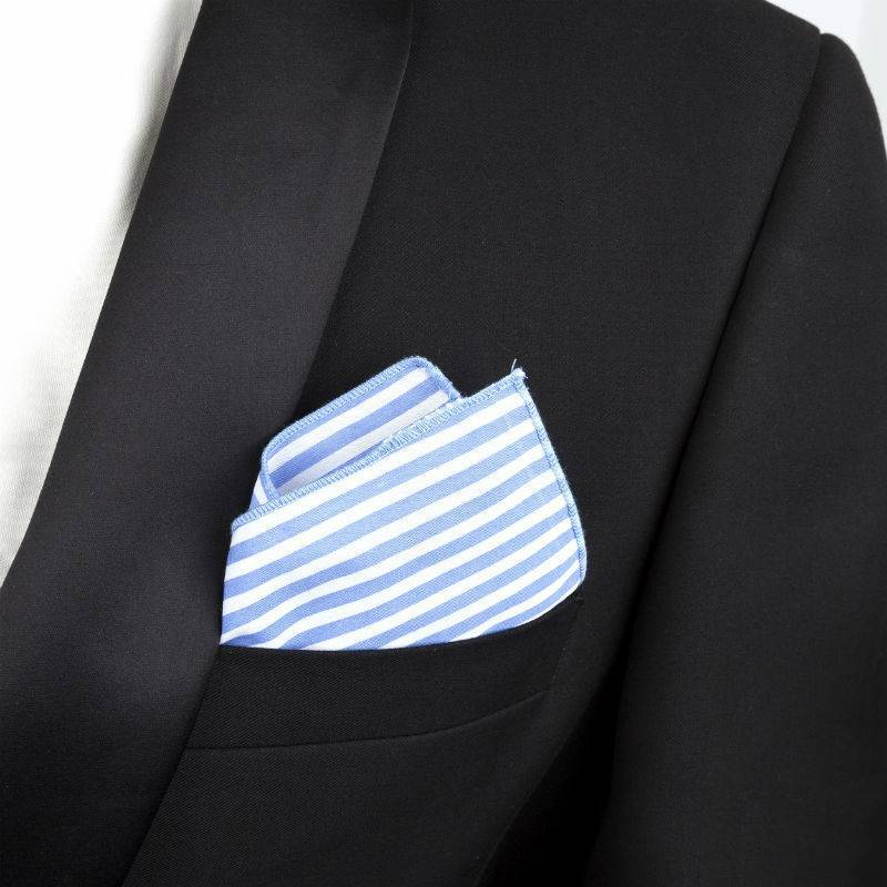 English Fashion pochette Zijde Lichtblauw Gestreept