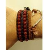 English Fashion Leather bracelet red stone