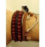 English Fashion Handgemaakte Leren wrap armband Rood Agaat