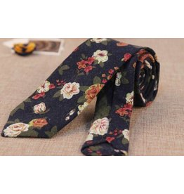 English Fashion Floral Tie Navy Blue